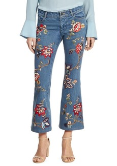 Alice + Olivia Ryley Embroidered Cropped Flare Jeans
