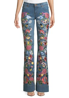 Alice + Olivia Ryley Floral-Embroidered Low-Rise Bell Jeans