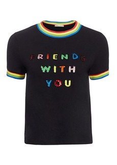 Friends With You x Alice + Olivia Rylyn Embellished Ringer Tee