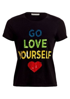 Alice + Olivia Rylyn Sequin Slogan Tee