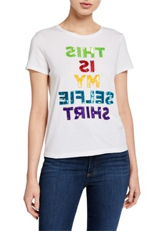 Alice + Olivia Rylyn This Is My Selfie Shirt Embellished Crewneck Top