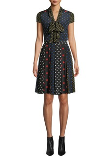 Alice + Olivia Sanda Tie-Neck Dress
