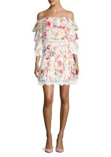 Alice + Olivia Santos Cold-Shoulder Ruffle Dress