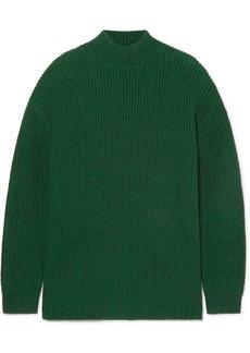 Alice + Olivia Sarah Open-back Ribbed Silk-blend Turtleneck Sweater
