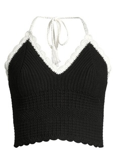 Alice + Olivia Saran Cropped Halter Top
