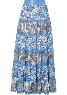 Alice + Olivia Satin And Lace-trimmed Floral-print Crepe De Chine Maxi Skirt