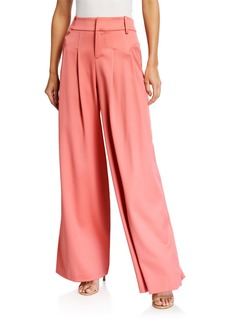 Alice + Olivia Scarlet Darted Wide Leg Wool-Blend Pants