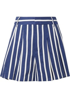 Alice + Olivia Scarlet pleated striped linen-blend shorts