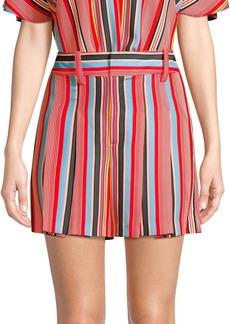 Alice + Olivia Scarlet Striped Flutter Shorts