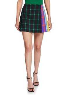 Alice + Olivia Semira Grid Pleated Colorblock Mini Skirt