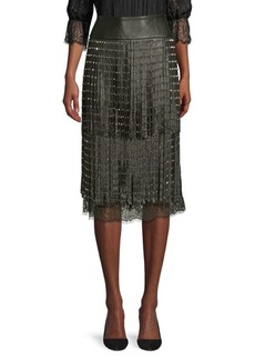 Alice + Olivia Senna Leather Fringe Skirt
