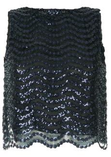 Alice + Olivia sequin embellished mesh top