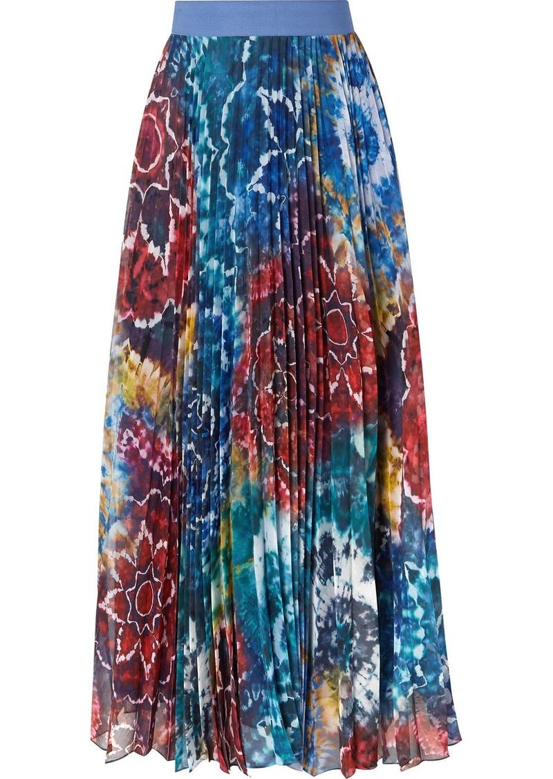 Alice + Olivia Shannon Pleated Printed Chiffon Maxi Skirt