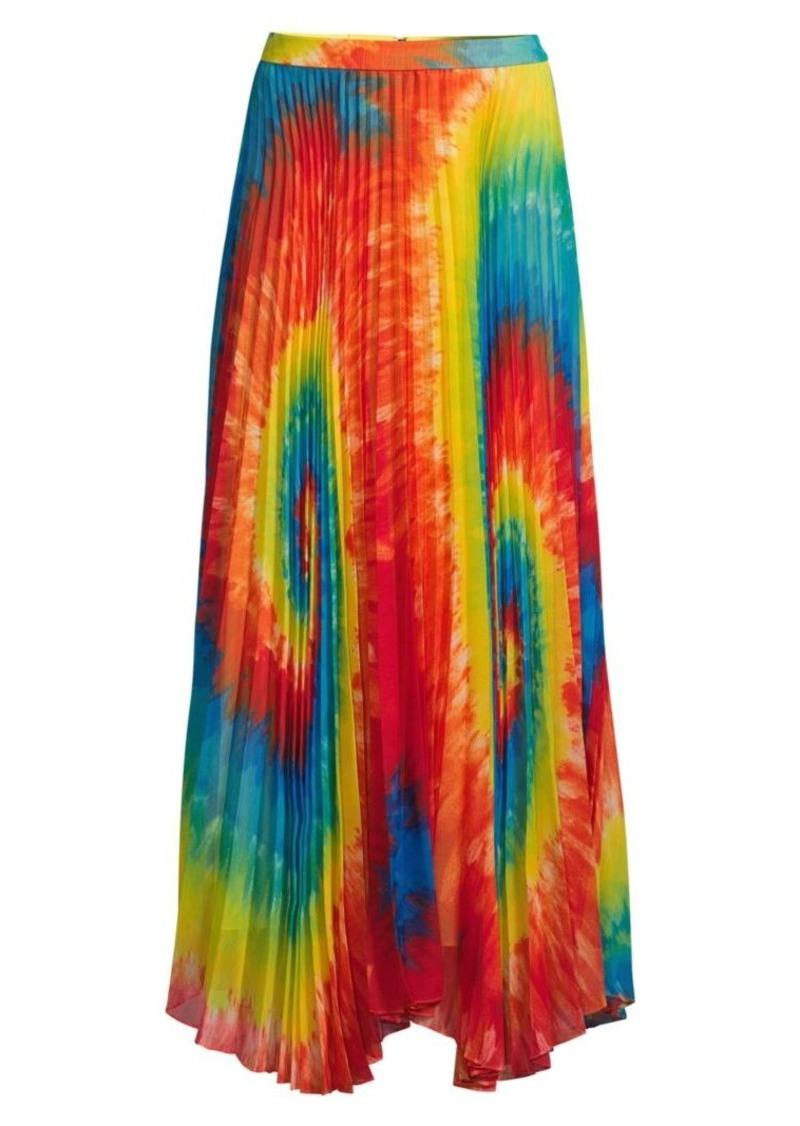 Alice + Olivia Shannon Tie-Dye Pleated Long Skirt