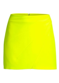 Alice + Olivia Shaylee Asymmetric Crepe Mini Skirt