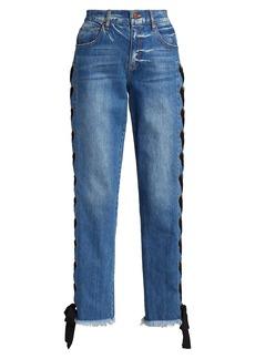 Alice + Olivia Shayne Lace-Up Ribbon Jeans