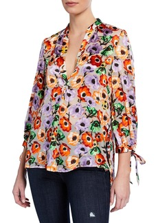 Alice + Olivia Sheila Floral Blouson-Sleeve Henley Top