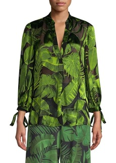 Alice + Olivia Sheila Leaf-Print Tie-Sleeve Button-Down Shirt