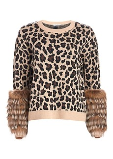 Alice + Olivia Sheila Leopard Silver Fox Fur-Cuff Stretch-Wool Sweater