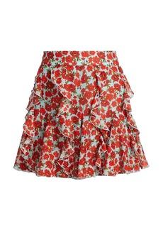 Alice + Olivia Sherley Ruffle Godet Mini Skirt