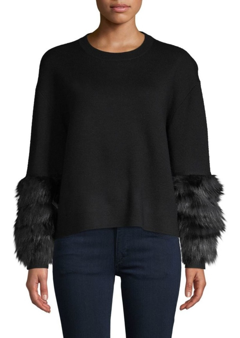 Alice + Olivia Shiela Fox Fur-Cuff Sweater