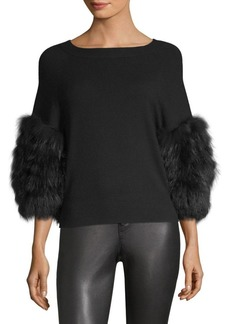 Alice + Olivia Shiela Fur Cuff Sweater
