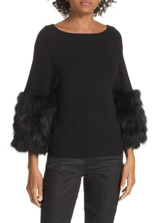 Alice + Olivia Shiela Genuine Fox Fur Cuff Sweater