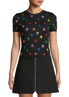 Alice + Olivia Short-Sleeve Star Crewneck Tee