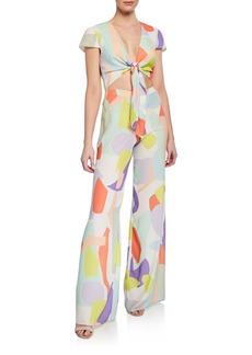 Alice + Olivia Sierra Geometric-Print Tie-Front Cap-Sleeve Jumpsuit