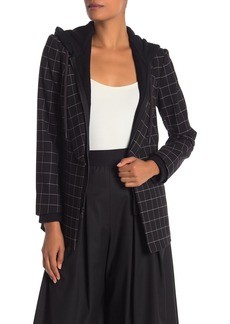 Alice + Olivia Skye Boxy Plaid Print Hooded Blazer