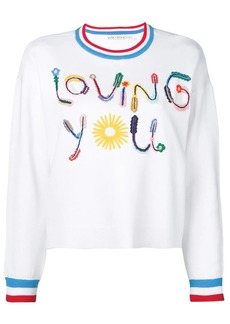 Alice + Olivia slogan print sweater