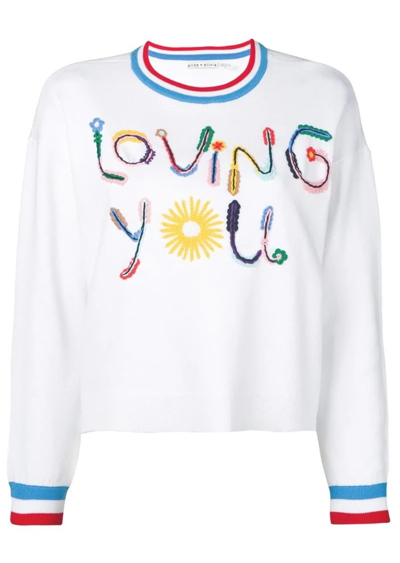 Alice + Olivia slogan print sweater