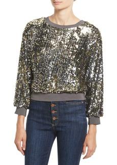 Alice + Olivia Smith Embellished Ribbed-Trim Cropped Sweatshirt