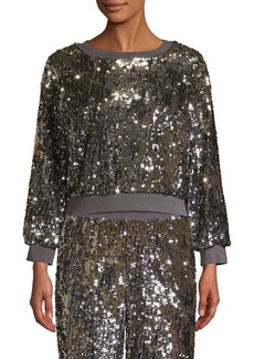 Alice + Olivia Smith Sequin Crop Sweatshirt