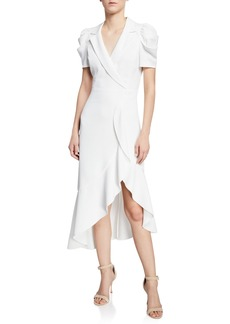 Alice + Olivia Solaris Cross-Front Collared Dress