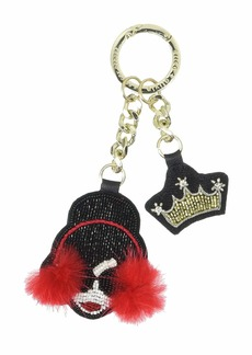 Alice + Olivia Stace Face Muffs Crown Embroidered Key Charm