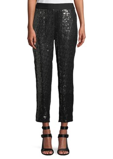 Alice + Olivia Stacey Sequin Tapered-Leg Pull-On Cropped Pants