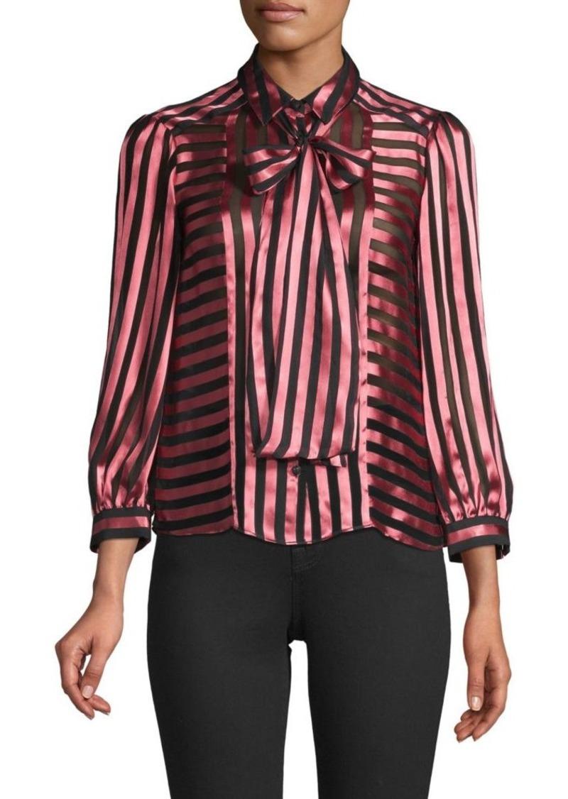 Alice + Olivia Striped Puffed-Sleeve Top