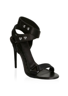 Alice + Olivia Stud Satin Ankle Strap Sandals