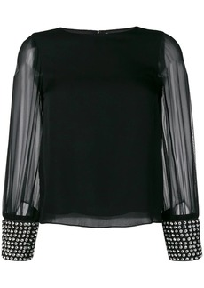 Alice + Olivia studded cuff blouse