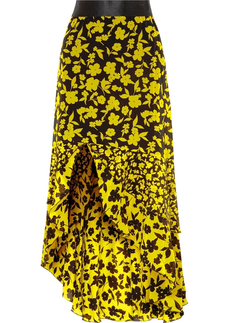 Alice + Olivia Sueann Asymmetric Tiered Floral-print Satin-trimmed Silk Crepe De Chine Skirt