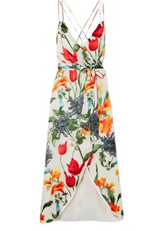 Alice + Olivia Susana Wrap-effect Floral-print Devoré-chiffon Midi Dress