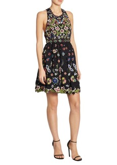 Alice + Olivia Talulah Embroidered Mini Dress
