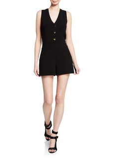 Alice + Olivia Tamira Three-Button Sleeveless Romper