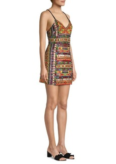 Alice + Olivia Tayla Embroidered Mini Dress