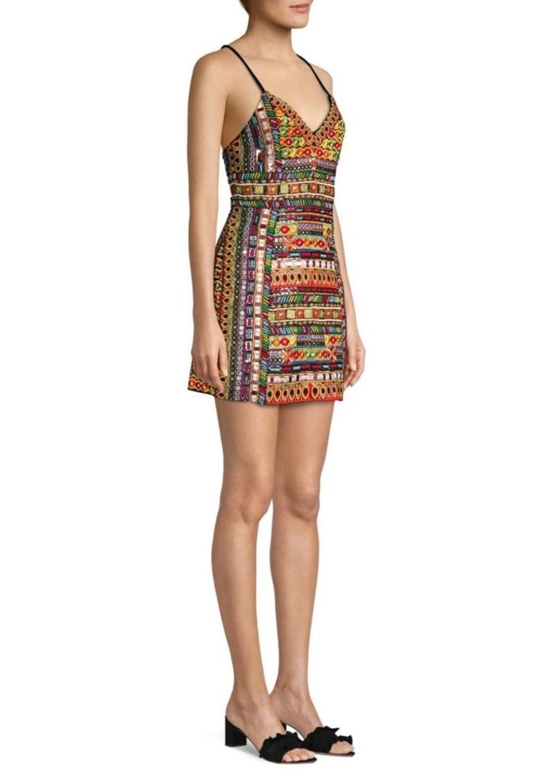 Alice + Olivia Tayla Embroidered Mini Dress