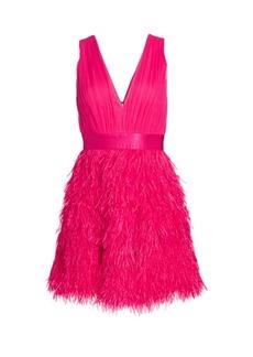 Alice + Olivia Tegan Feather Party Dress