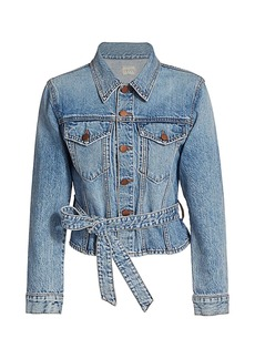 Alice + Olivia Teresa Cinch Waist Denim Jacket