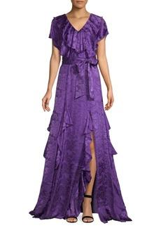 Alice + Olivia Tessa Ruffle Belted Floral Maxi Dress