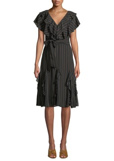 Alice + Olivia Tessa Striped Ruffle Godet Midi Dress